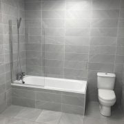 Burlington Bone grey matt finish wall tile. 20 x 60 cm in size with matching decor and 45 x 45 cm floor tile.