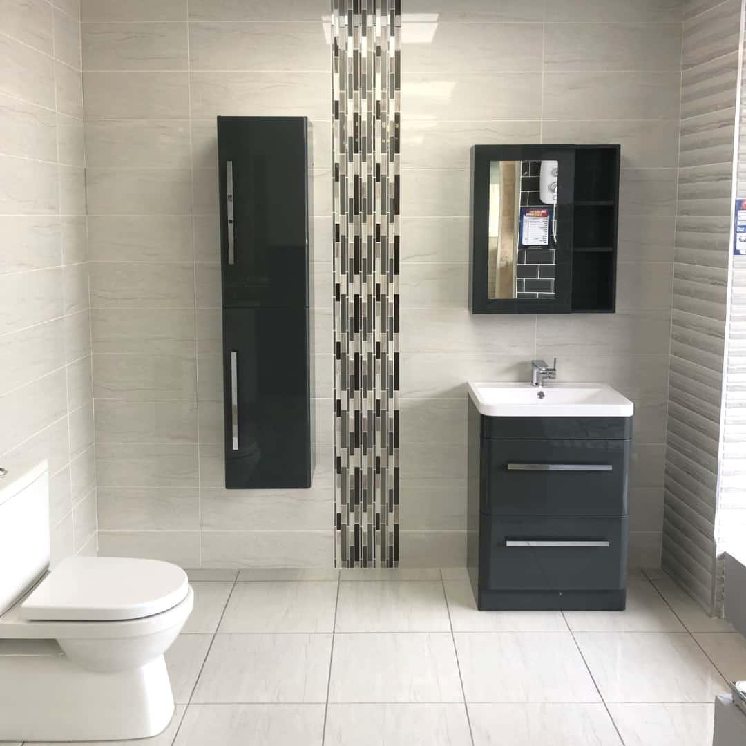bathroom wall tile white and gray