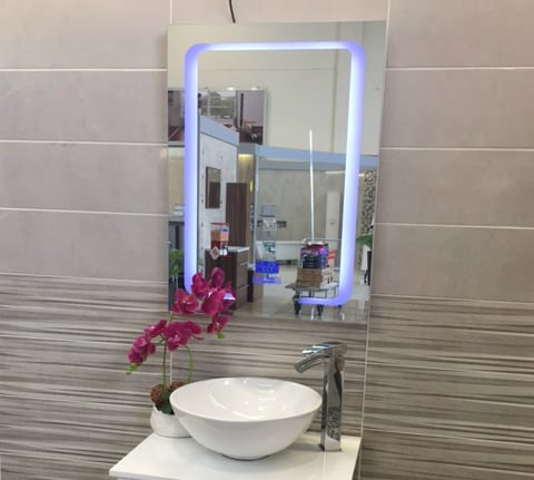 Led Back Lit Bluetooth Mirror Right, Bathroom Mirror With Led Lights And Bluetooth